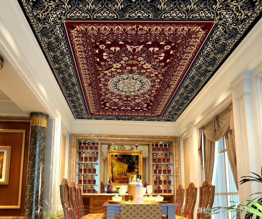 3d stereoskopik duvar kağıdı Moda zarif kırmızı aile yaprakları desen halı sanat Zenith freskleri