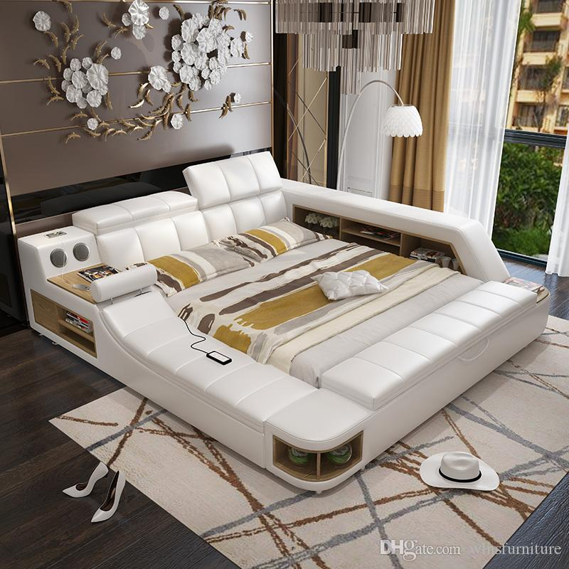 Modern Soft Bed Tatami Bedroom King Queen Double Size Multi Functional Soft  Music Massage Bed Real Leather Art Bed Soft Bed Leather Bed Online With ...