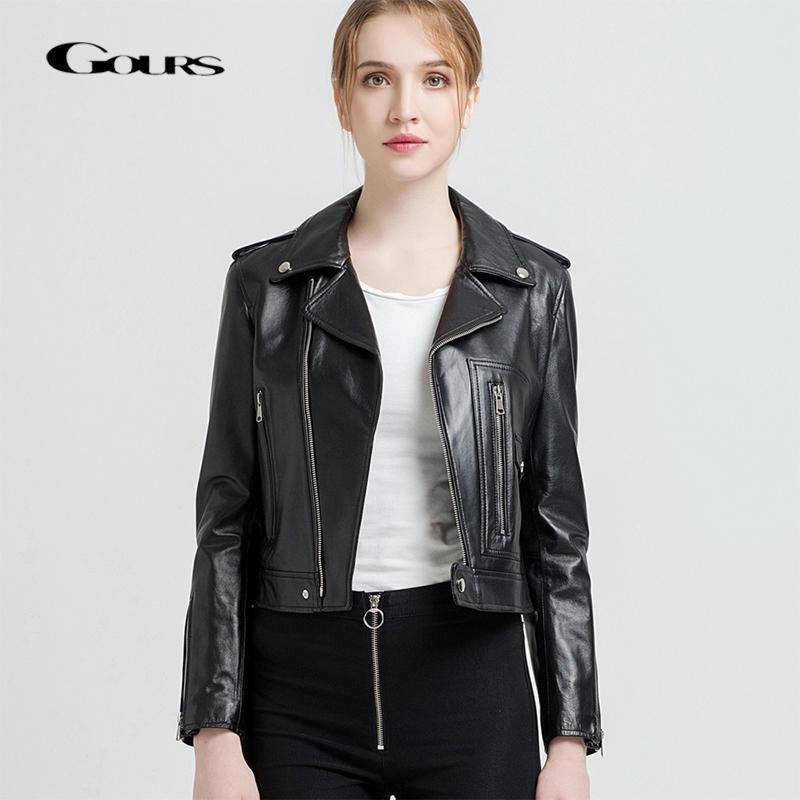 lowest price 836d2 ec1a8 Gours Giacche in vera pelle per donna Giacca moto breve moda Nero Rosso  Classico stile punk Cappotto donna in pelle di montone 227