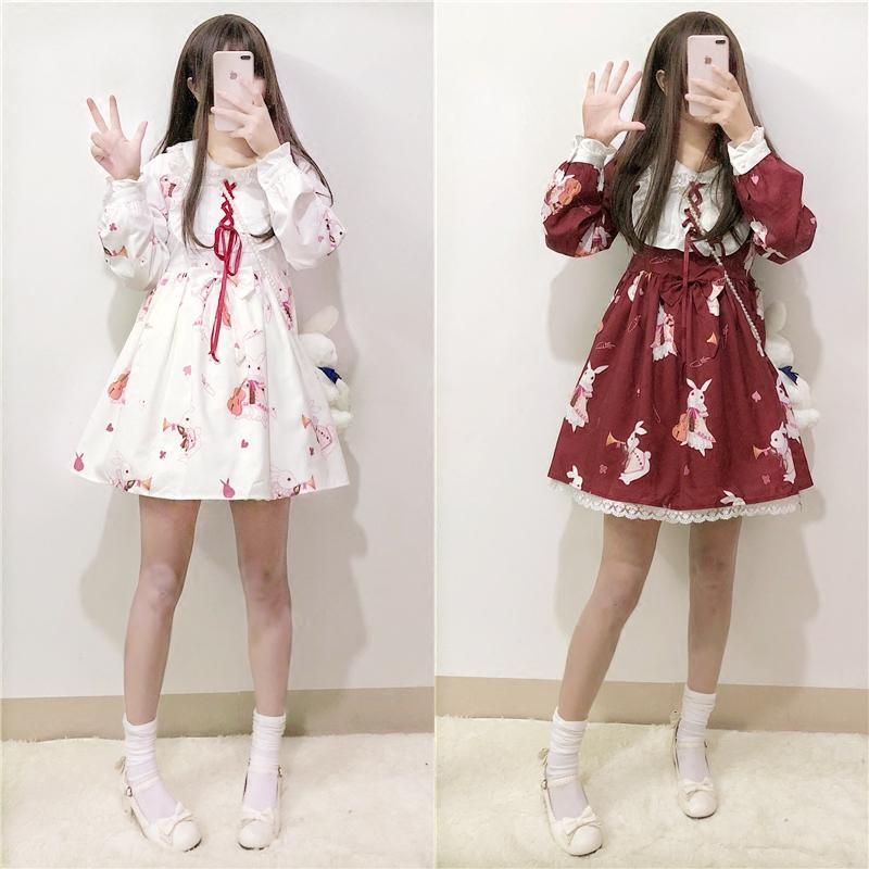 e6a3d9048af6b Lolita Dress Sweet Rabbit Cute Japanese Kawaii Girls Princess Maid Vintage  Gothic Printed Patterns Lace White Red Summer Skirt