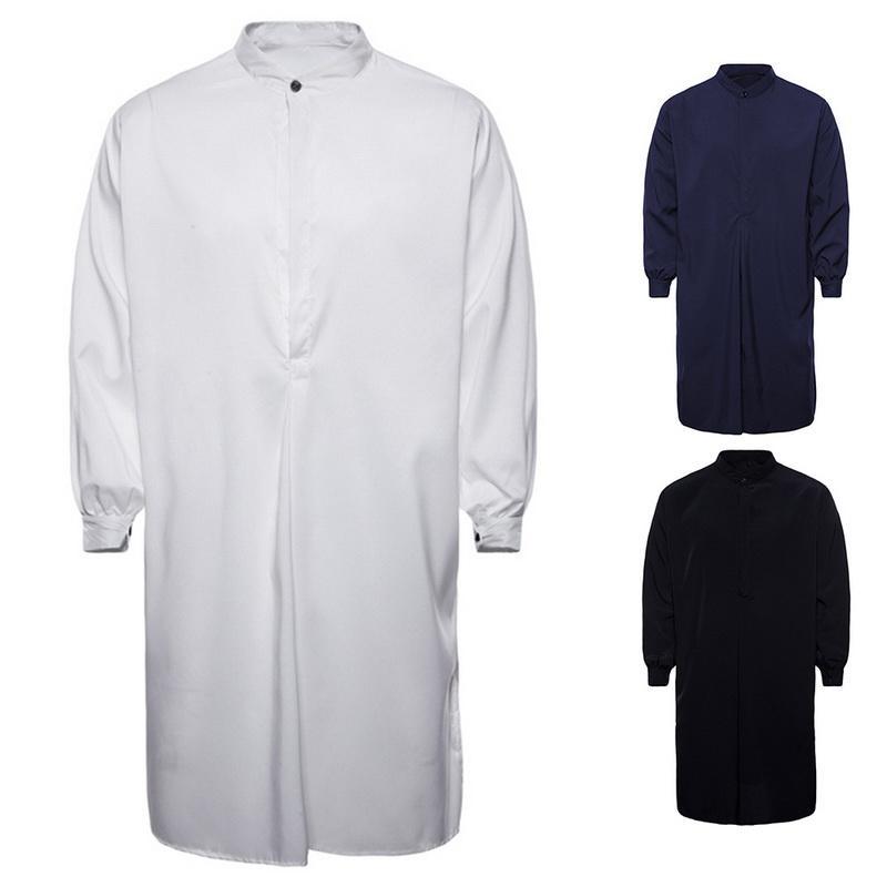 980a2a181548 Acquista VERTVIE 2018 Uomo Autunno New Casual Musulmano Arabo Camicie Uomo  Manica Lunga ShirtMale Camisa Masculina Casual Solid Homme Abbigliamento A  $24.09 ...