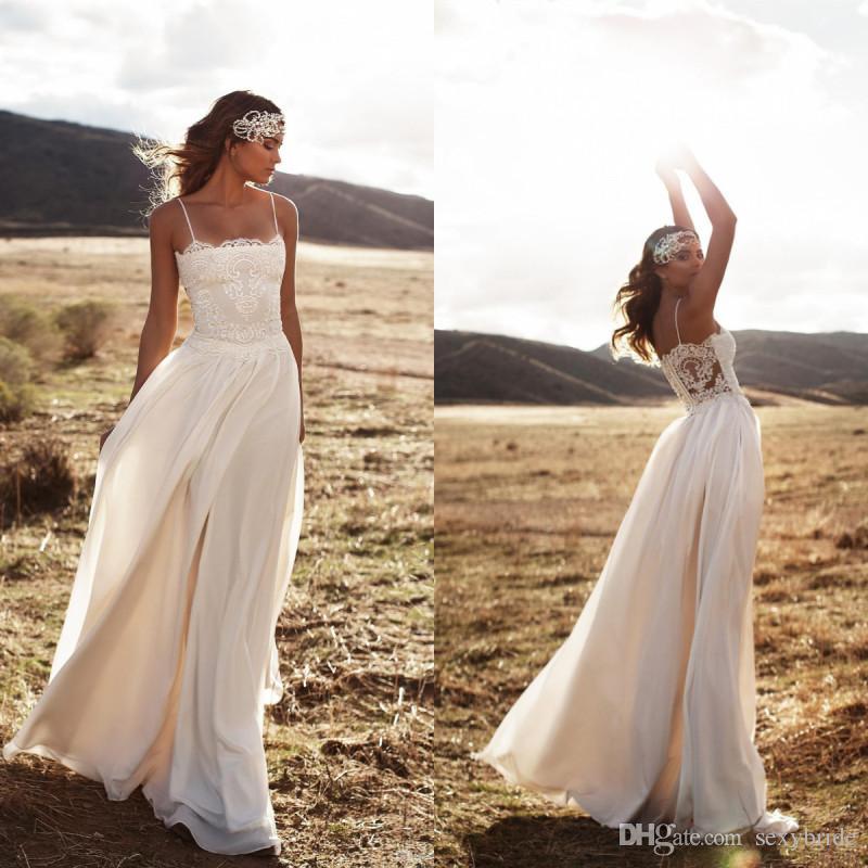 483d97e620 Sexy Beach Boho Wedding Dresses Spaghetti A Line Chiffon Top Lace Floor  Length Bridal Gowns Simple Cheap Bohemian Wedding Dress