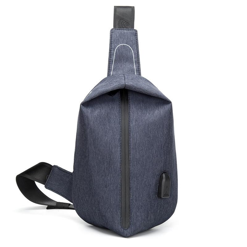 9cfd64a12ba2 2018 New Trendy Men  Chest Bag USB Charging Black Messenger Bag With Earphone  Jack For Men Waterproof Nylon Cross Body Men Bags Man Bags Satchel Bags From  ...