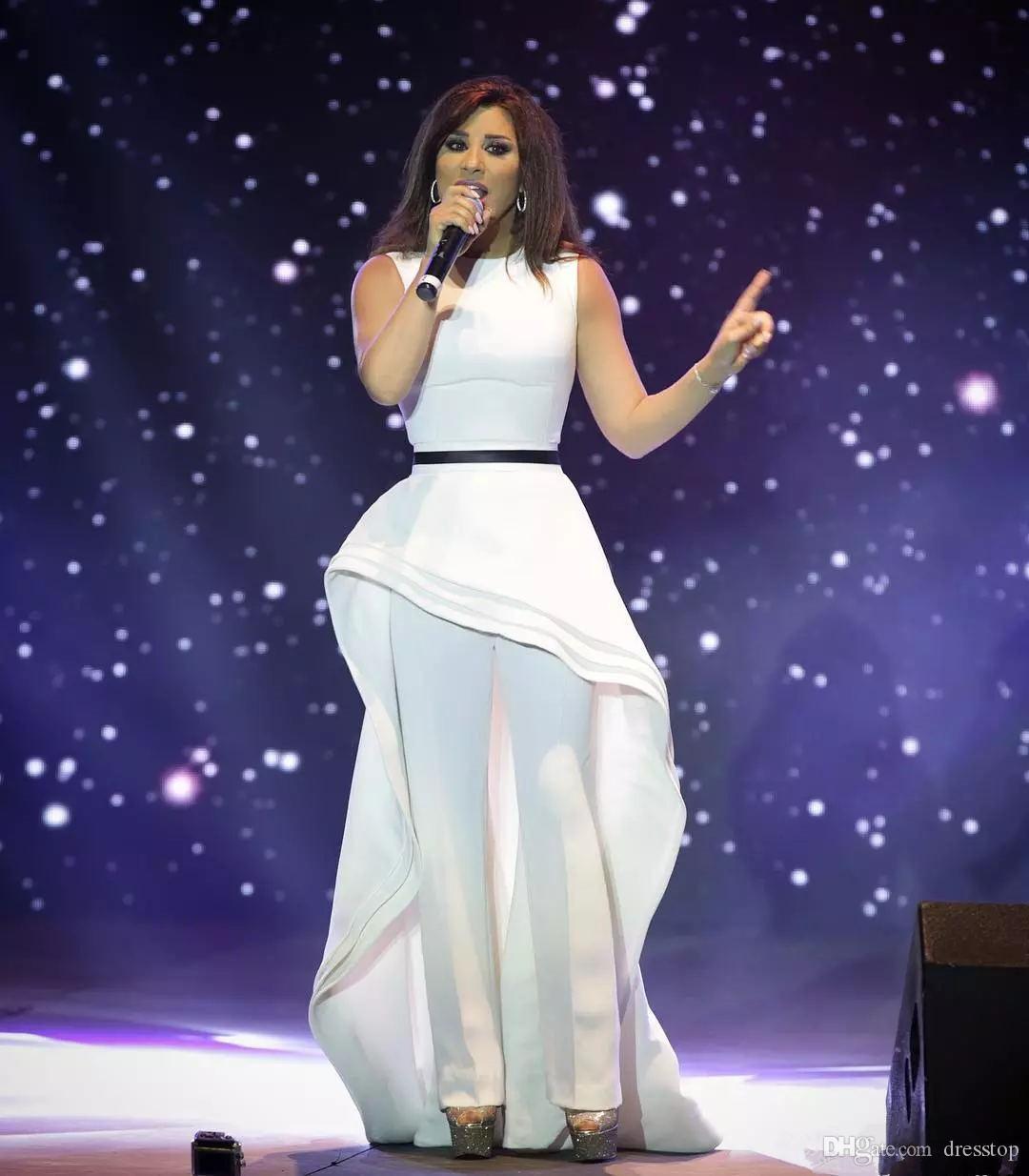 Abiti gioiello bianco Alto Basso arabo di promenade del collo delle tute peplo di sera del partito degli abiti di un cavo a due pezzi vestito convenzionale