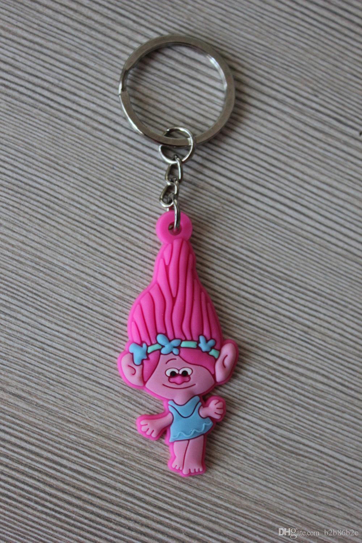 Wholesale Order Trolls Poppy Biggie DJ Suki High Quality Bright Color Cartoon PVC Keychain Key Ring Bag Cute Accessory Kawaii Party Favor