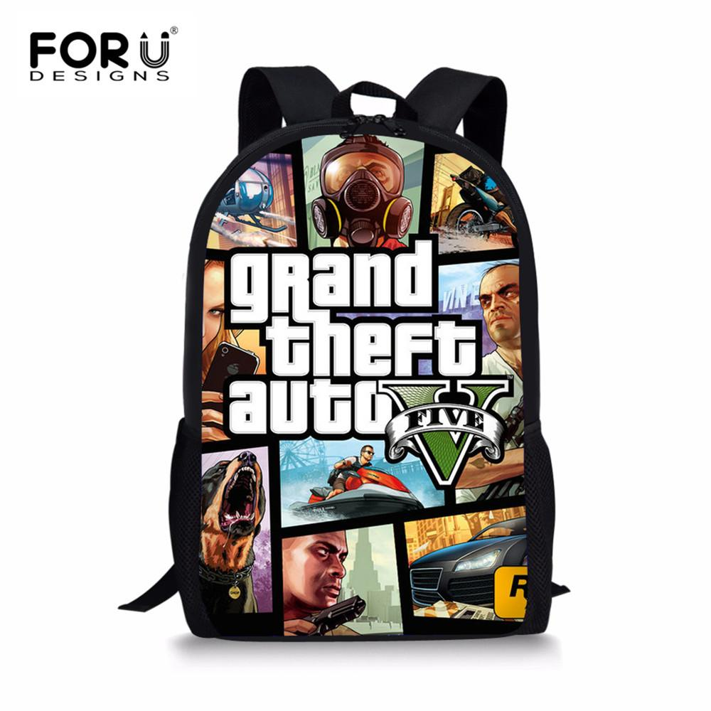 512eabe44c FORUDESIGNS Children S School Bags Game Grand Theft Auto V Pattern Kids  Schoolbags Backpack School Bag For Teenage Boys Girls Rolling Backpack Gym  Bags For ...