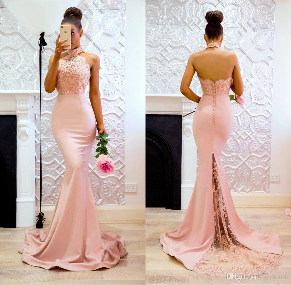 fd158767d63 2018 New Arrival Satin Lace Applique Backless Mermaid Party Dress Luxury  Halter Sleeveless Button Evening Dress Off The Shoulder Evening Dresses  Online ...