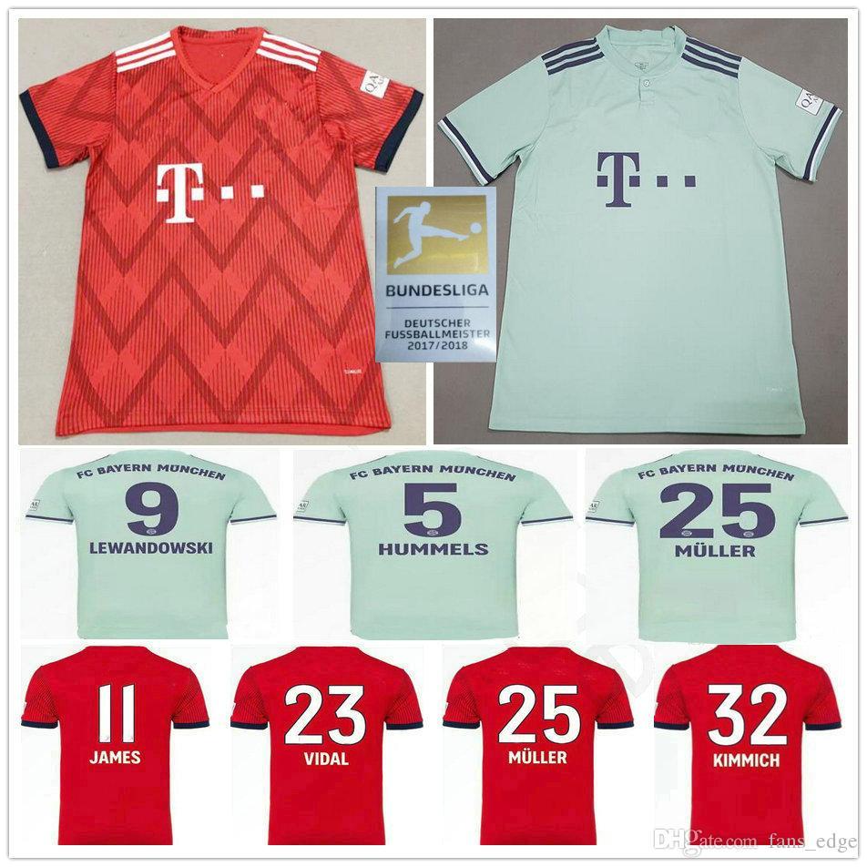 73fa5da882f 2019 2018 2019 Bayern Munich Soccer Jerseys JAMES LEWANDOWSKI ROBBEN MULLER  KIMMICH Custom 18 19 Home Away Men Women Kids Youth Football Shirt From ...