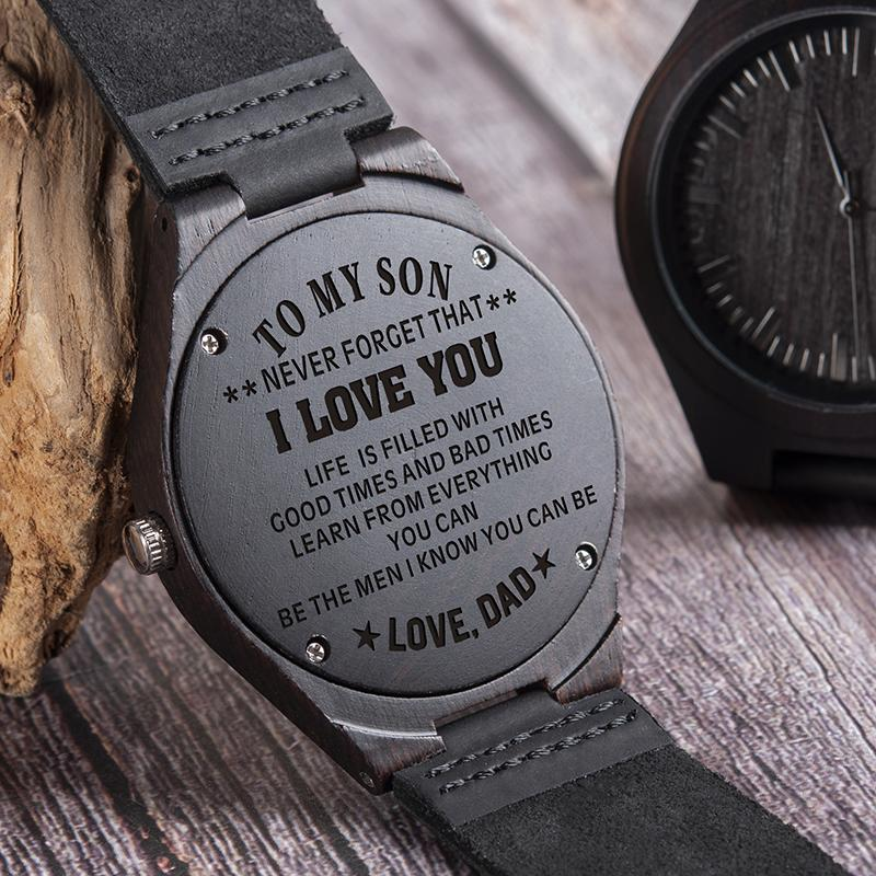 Cadeaux Hommes En D26 Sur Montre Idée Relogio Bois Bracelet Message Montres Casual Design Cuir Graver Masculino WE9H2DI