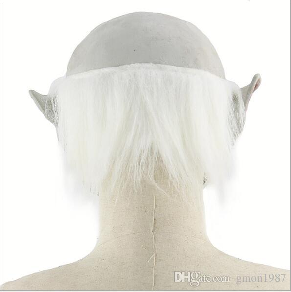 Horror! Halloween Mask White Hair Oldman Ghost Scary Mask Props Grudge Ghost Hedging Zombie Mask Realistic Silicone Masks Masquerade
