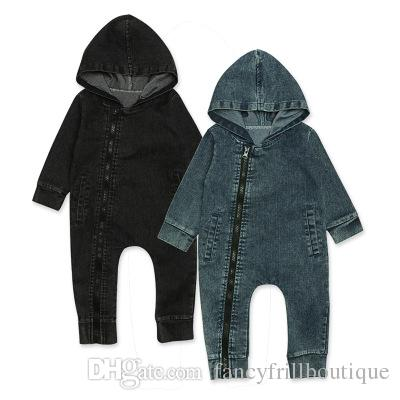 e14d2230b Soft Denim Baby Romper Newborn Hooded Jumpsuit Baby Boy Clothes ...