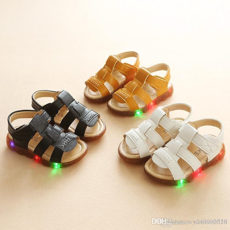 b0007b9b513 Caterpillar Children Slippers LED Light Children S Shoes For Boys And Girls  Beach Shoes Tooth Flash Flash Baby Sandals Cheap Children Boots Best Toddler  ...
