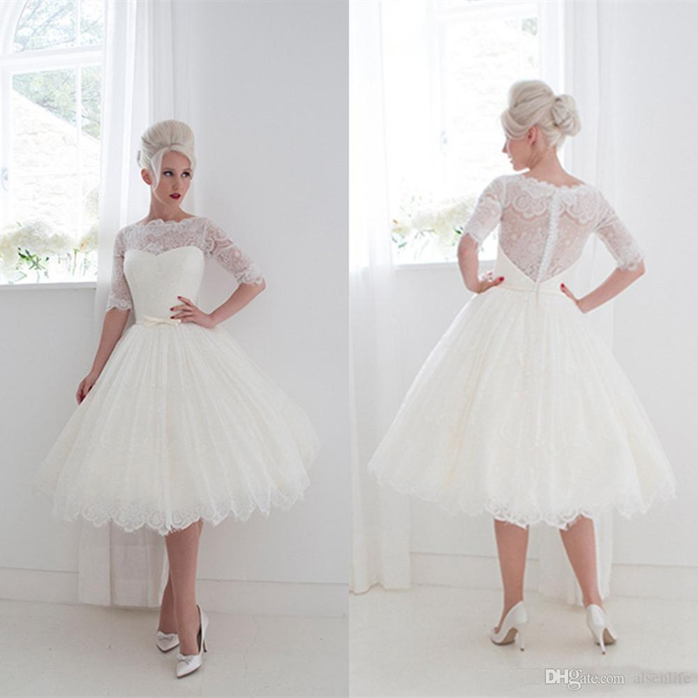 7ddea53052 1950 s Style Short Wedding Dresses Bateau Lace Ribbon Cover Button Back  Beach Spring Tea Length Bridal Gowns Lace Half Sleeves Ball Gown