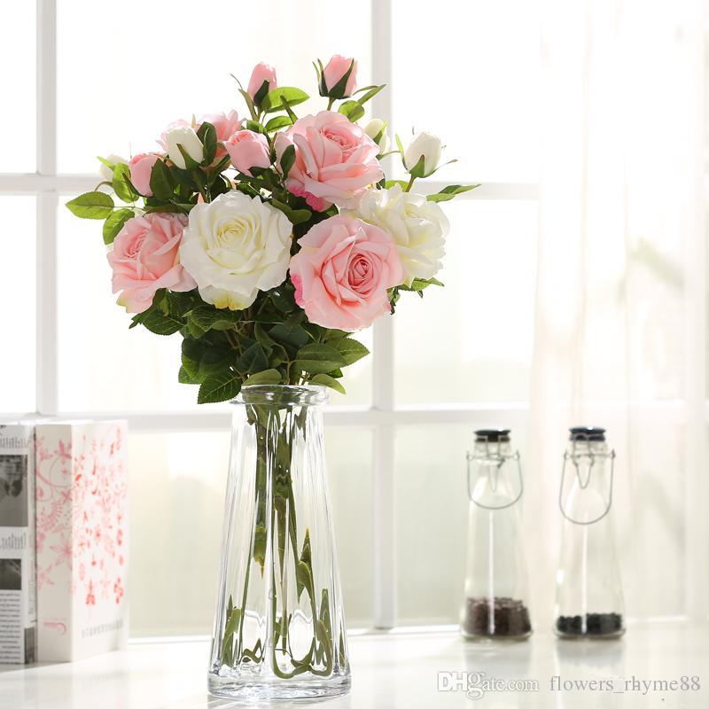 c04b27ffdd924 Compre Decoración De La Boda De Flores Decorativas Real Touch Artificial  Tallo Único Rose Flores Centros De Mesa Para La Mesa De Arreglos Florales  Falsos En ...