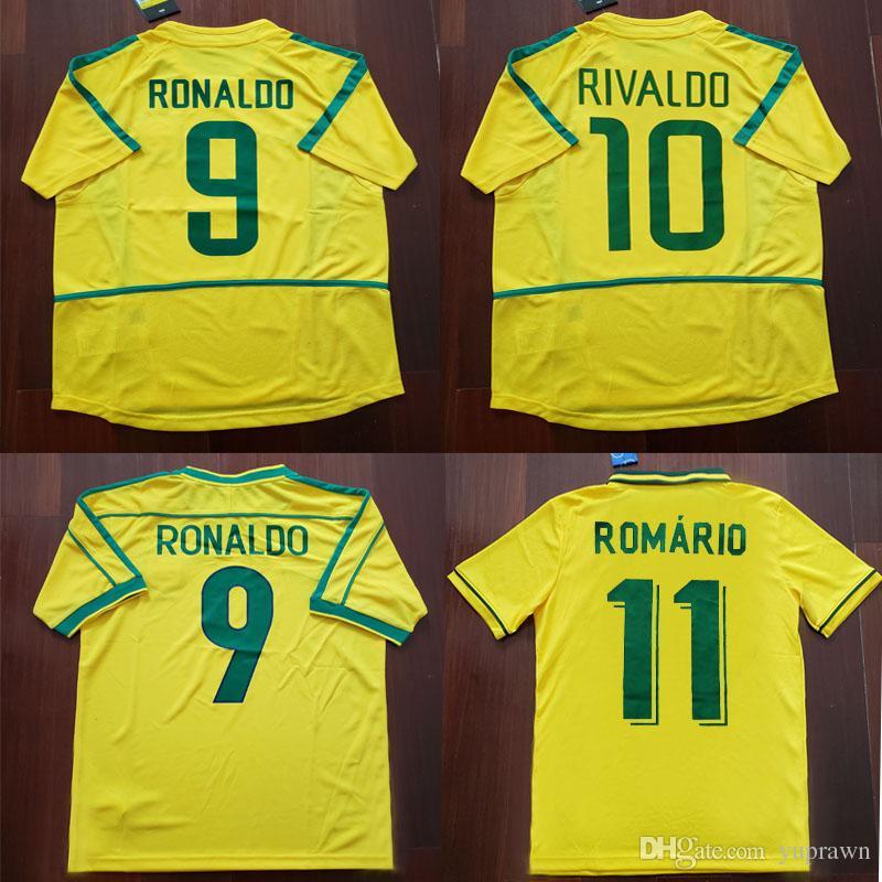 10d99b510 Compre Brazil 1994 1998 2002 Brasil Camisas De Volta Ao Brasil Rivaldo Brasil  Retro Camisas Clássicas Carlos Romário Ronaldo Ronaldinho Jersey Camisa De  ...