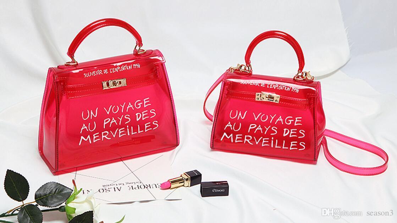 6df1160f8dd3b Satın Al Temizle Şeffaf PVC Omuz Çantaları Kadın Şeker Renk ...