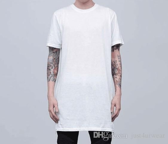 Street Long Tshirt Men Summer Clothing Cerniere classiche Su Nero Bianco Tees Nero Bianco Tops