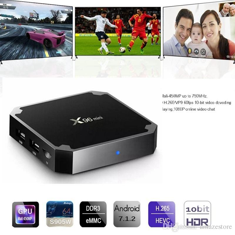 Android TV Boxes X96 mini S905W TV Box con Android7.1 OS 2.4G WiFi 4K video streaming X96 mini 1 / 2GB 8 / 16GB Smart TV Box