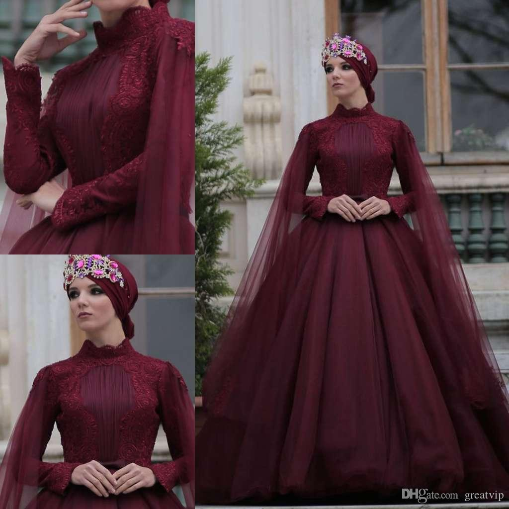 f6cb902030410 Burgundy Muslim Evening Dresses With Tulle Wraps Long Sleeve Applique Satin  Sweep Train Plus Size Prom Gowns Arabia Robes Short Dresses Debs Dresses  From ...