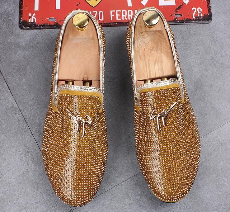Men Luxury Designer High-quality Glitter Rhinestone Flats Oxfords ... d5aa486f4f93