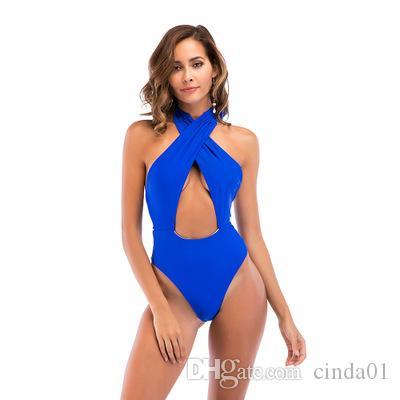 Roupas de verão Mulheres Halter Pescoço Binkins Praia One Piece Maiô Mulheres Sexy Backless Surf Vida Feminina Swimwear