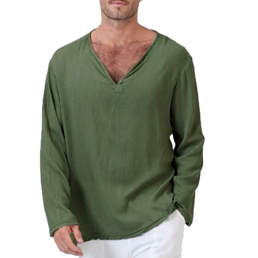 9e4de7ee04b Mens T Shirt Long Sleeve Cotton Linen Thai Hippie Shirt Summer ...