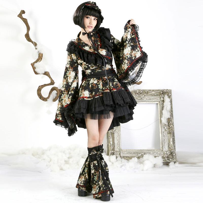 a68964b9c Compre Punk Lolita Moda Meninas Linda Bonita Princesa Kimono Vestido Estilo  Japonês Das Mulheres De Manga Longa Bonito Curto Vestido Terno Vestidos De  ...