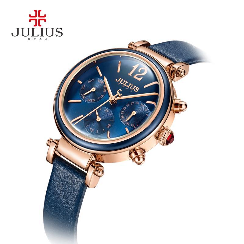 aa7d361542de Compre Julius Marca Relojes Creativos Mujeres Moda Chronos Reloj De Cuarzo  Retro Vintage Montre Femme Día Automático Fecha Mujer Reloj JA 958 A  64.48  Del ...