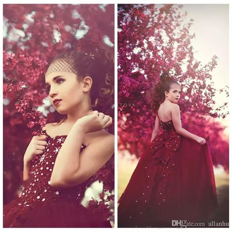 2018 princesa borgonha meninas pageant vestidos strapless frisado pérolas bow knot até o chão vestido formal vestidos da menina de flor de aniversário vestidos