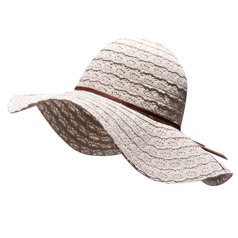Vbiger Women Straw Sun Cap Foldable Wide Brim Hat Fashionable Floppy Hat  Portable Beach Straw Trendy Outdoor Beach Cap Flat Brim Hats Mens Straw Hats  From ... 68fea30d119a