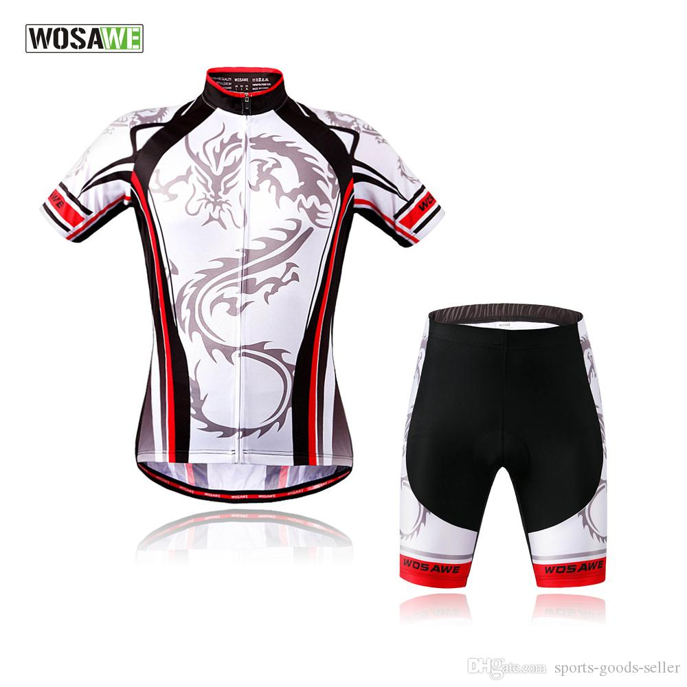 WOSAWE Brand Men New Cool Cycling Jersey Set Short Sleeve Sport Polyester  Summer Bike Bicycle Ciclismo Sportswear Mesh Fabric Cycling Shorts Men  Mountain ... 7d1e15258