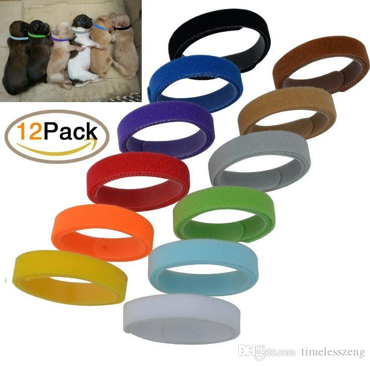 12PCS/SET Pet dog neck strap labeling necklace for dogs cats pet collar identity ID tags pet supplies 12 colors