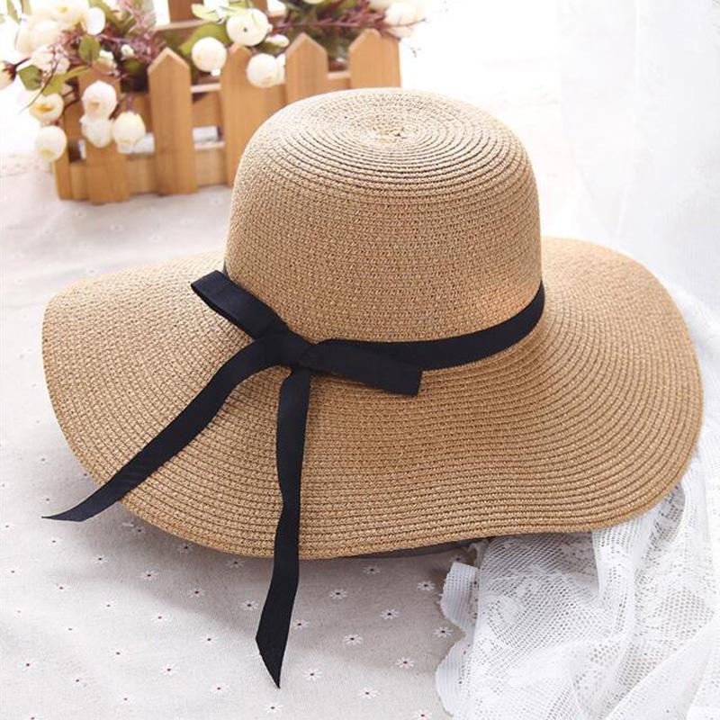 f4768185e3a309 Summer Straw Hat Women Big Wide Brim Beach Hat Sun Foldable Sun ...