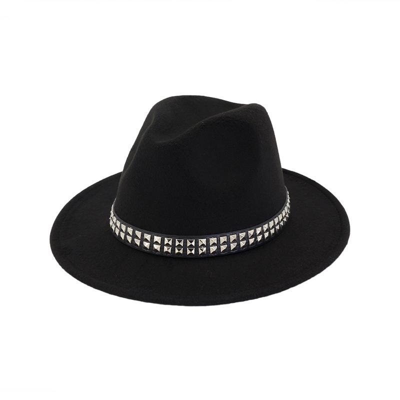 bb2cbfd4938b1 Unisex Flat Brim Wool Felt Hat Formal Party Jazz Trilby Fedora Hats With  Rivet Fashion Men Women Panama Style Formal Cap Flat Brim Hats Mens Straw  Hats From ...