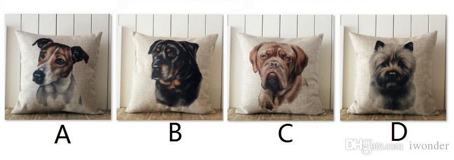 Parson Jack Russell Terrier Cushion Covers Wholesale Hand Painting Dog Dogue de Bordeaux Pillow Case Thin Linen 45X45cm Bedroom Sofa Decor