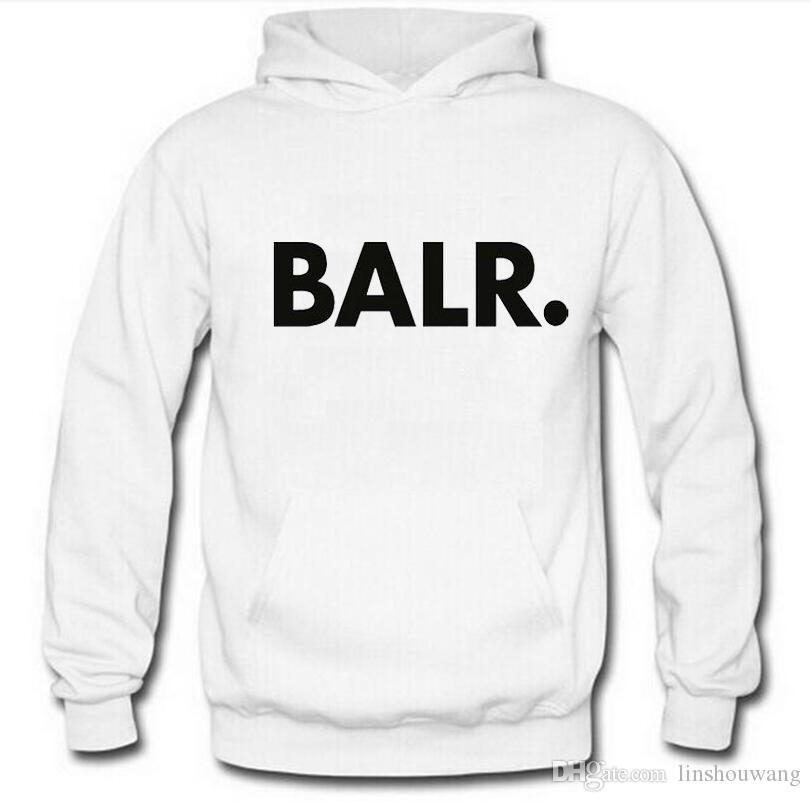 Männer BALR gedruckt Fleece Hoodies Frühling Herbst Winter Langarm Kapuzen Tops Lässige Hip Pop Pullover Punk Herren Sportswear Sweatshirt