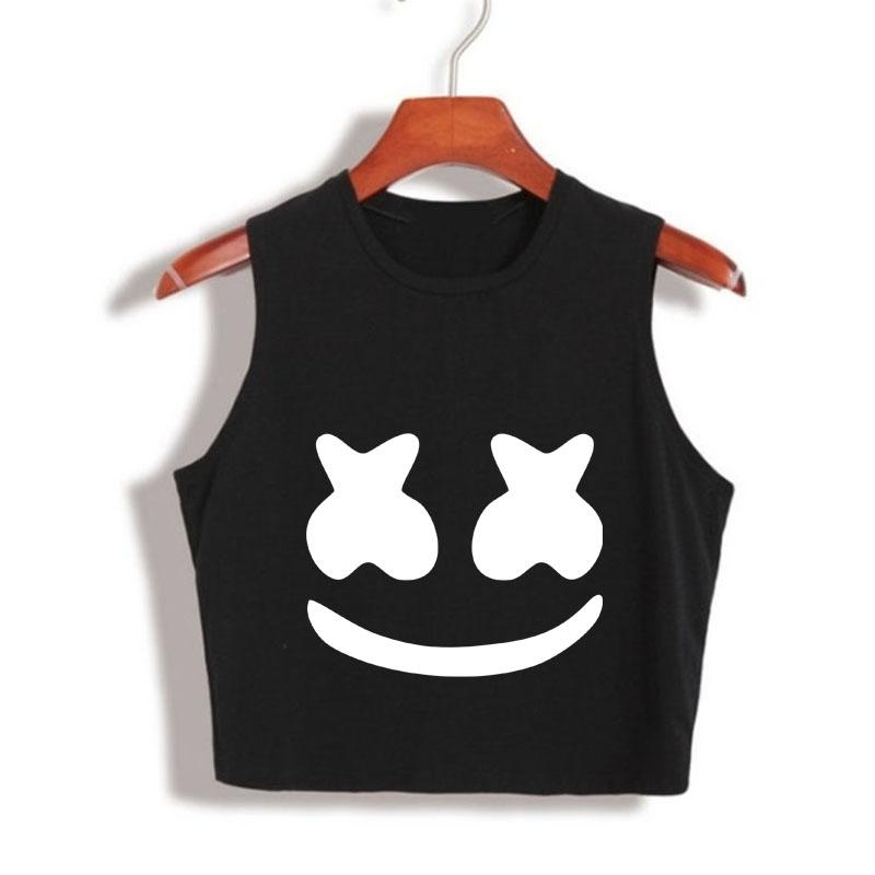 9ebdf03a21994 2019 2017 New Arrival Summer Women Tops Marshmello Face Crop Top High  Quality Cropped Tumblr Clothing Camisetas Mujer Loose Tank Top From  Clothesg202