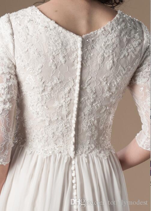 Vestidos de novia modestos de champán marfil con mangas 3/4 de encaje con cuentas Una línea de gasa Vestido de novia informal Boho Vestido de novia religioso SUD