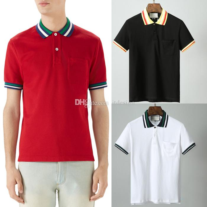 b82a69f2b3 2019 Red Black White Pocket Polo Shirt Men 100% Cotton Top Man Turn Neck  Short Sleeves Trim Fit Male From Itdesign