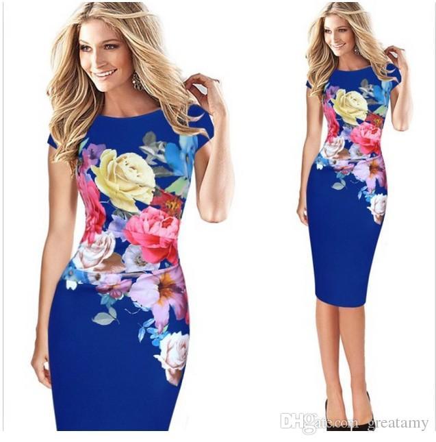 Fashion women floral print sleeveless spit cocktail party bodycon midi dress plus size S-5XL
