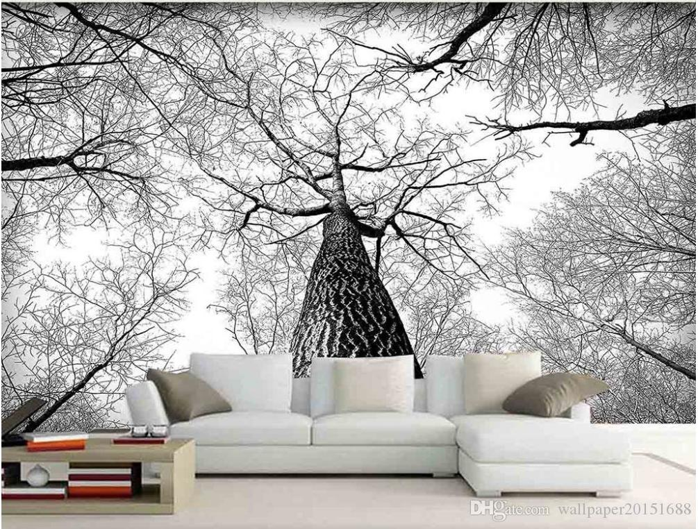 3D Wallpaper Custom 3d Mural Wallpaper Simple landscape aesthetic European black and white TV Backdrop Bedroom Photo Wall Paper 3D