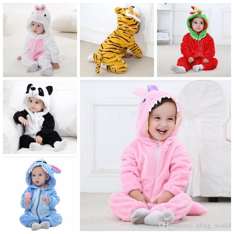 699dba158 2019 INS Baby Rompers Cartoon Flannel Baby Jumpsuits Animal Pattern ...