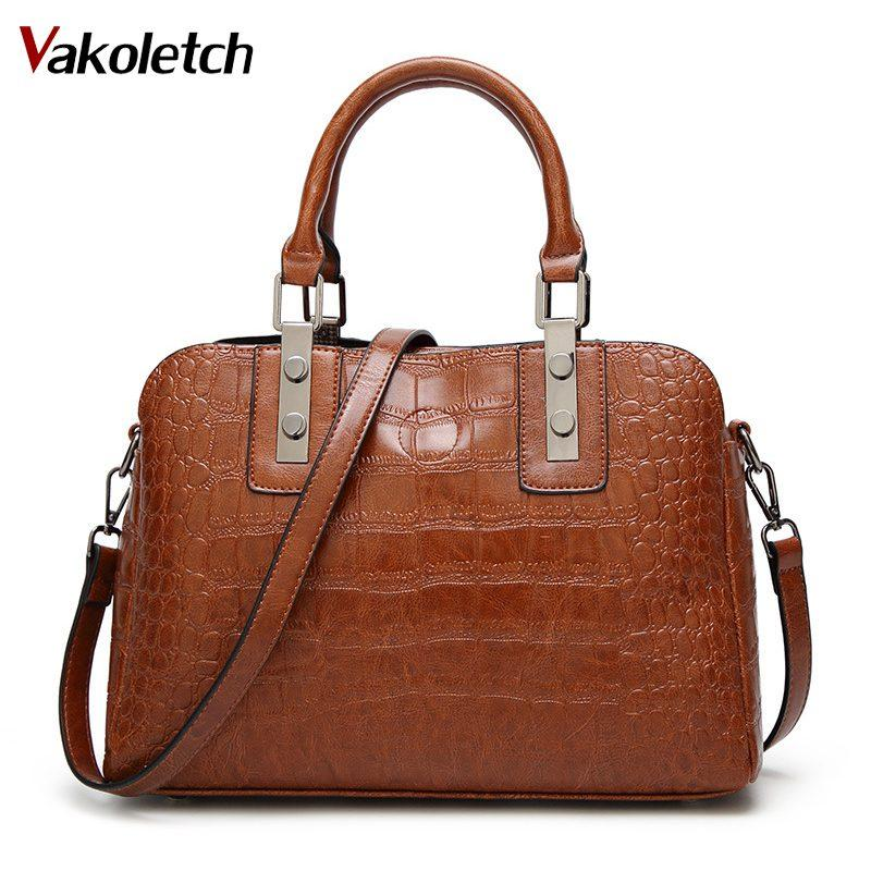 2018 Crocodile Pattern Shoulder Bag For Women Leather Handbags Women ... 4645a9adeb3f2