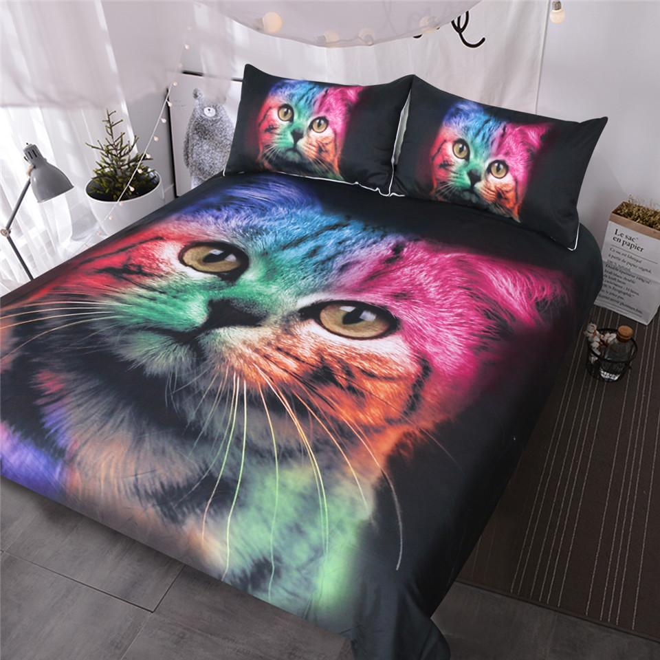Cat Bedding Set For Girls Boys Cute Colorful Cat Pattern Bedspread