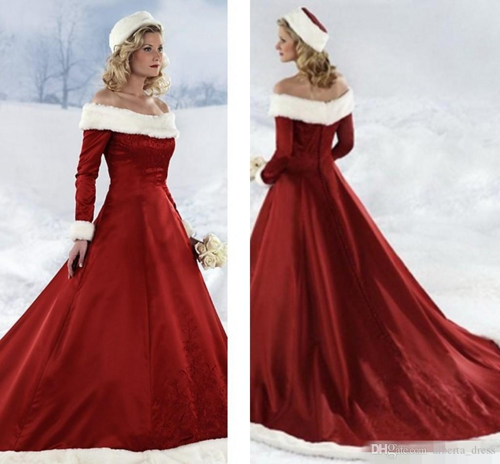 2017 Winter Wedding Dresses Vintage Off Shoulder Embroideries Long Sleeves Red Bridal Gowns Court Train Fall Winter Christmas Wedding Dress