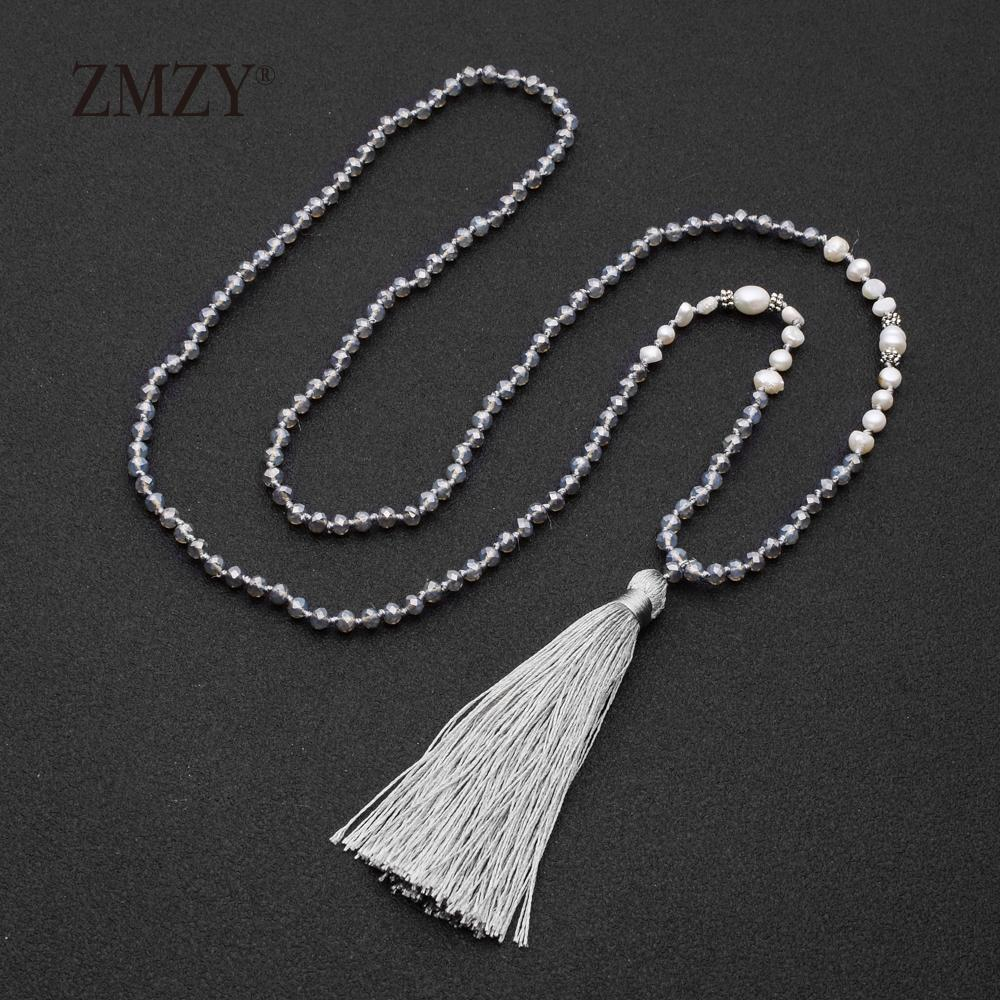 2f0fcc66e79b42 Wholesale ZMZY Fashion Boho Long Fringe Tassel Necklaces Women Collier  Simulated Pearl Beads Crystal Statement Collar Bohemian Jewelry Heart  Pendant ...