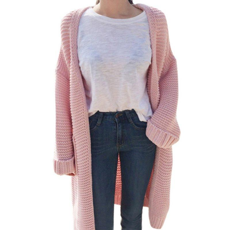 9f504ebddc New 2017 Women Autumn Winter Sweater Long Cardigan Long-Sleeve Loose Thick  Knitted Cardigan Female Sweaters Long Coat Cardigans Cheap Cardigans New  2017 ...