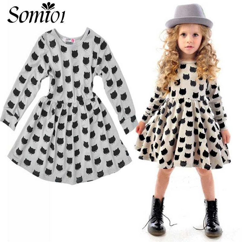 Inverno outono primavera menina dress animal print crianças roupas de moda de algodão de manga longa de 2017 crianças de moda casual crianças roupas