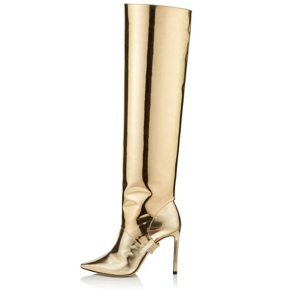 b88a57021c6 Compre Nueva Llegada 2018 Invierno Botas De Mujer De Oro Espejo De Calidad  Superior Zapatos De Las Señoras Sexy Delgado Tacones Altos Sobre La Rodilla  Botas ...