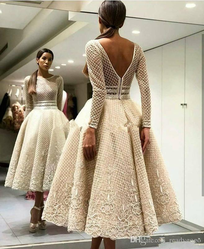 yousef aljasmi Lace Backless Prom Dresses Beaded Bateau Neck Sequined Long Sleeves Party Evening Dress Tea Length Appliqued Formal Gowns